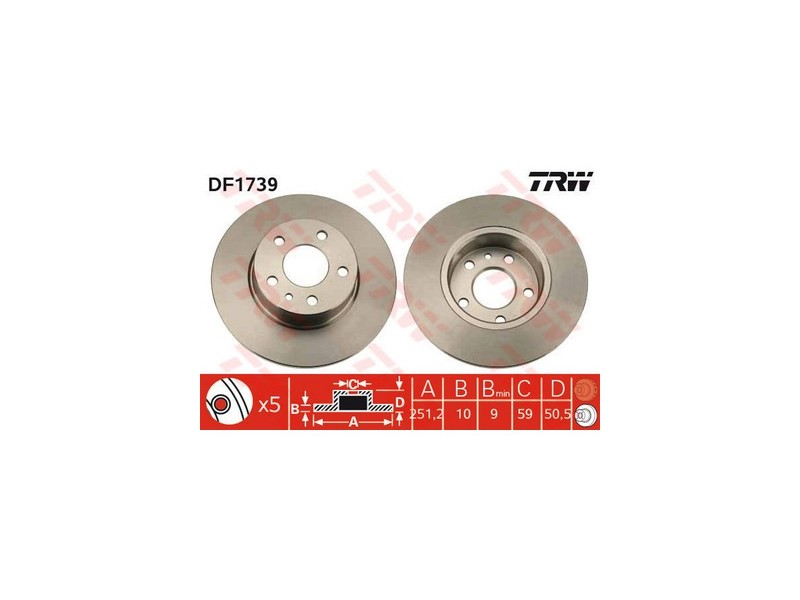 ALFA ROMEO 147 BRAKE DISC PAIR REAR TRW