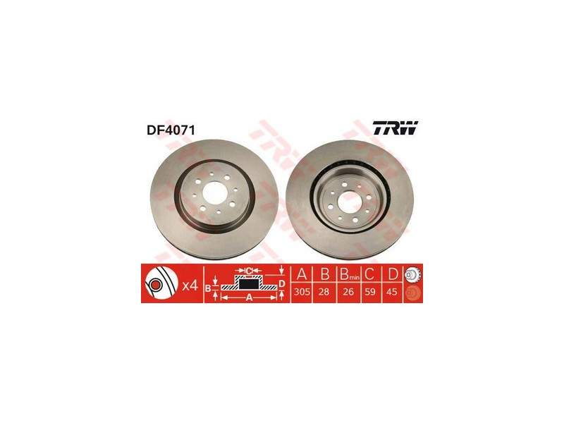 FIAT COUPE BRAKE DISC PAIR FRONT TRW